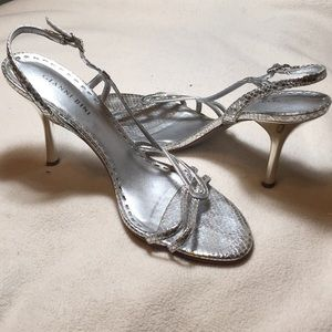 Gianni Bini 3 inch delicate silver heels, size 9.5